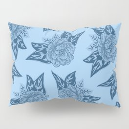 Cabbage Roses in Blue Pillow Sham
