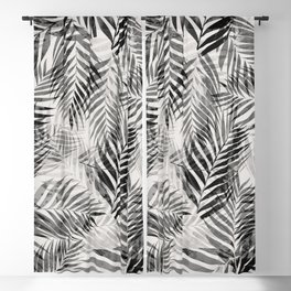 Palm Leaves - Black & White Blackout Curtain