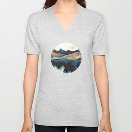 Blue Mountain Reflection Unisex V-Neck