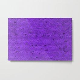 Bright Neon Purple Brick Wall Metal Print
