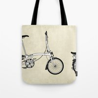 brompton Tote Bags featuring Brompton Bicycle by Wyatt Design