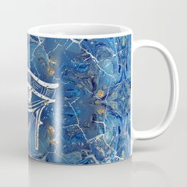 Silver Egyptian Eye of Horus  on blue marble Coffee Mug