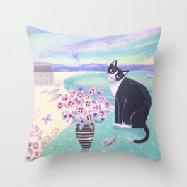 Cat in Cornwall Throw Pillow