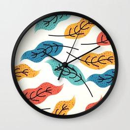 Autumn leaves vintage hand drawn illustration pattern Wall Clock