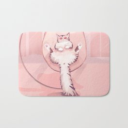 Cat Chilling in a Nest Swing Wearing Sunglasses - Bubble Pink Scene Bath Mat