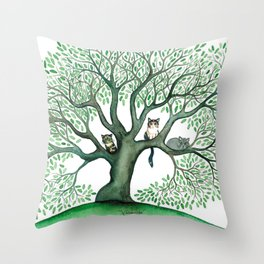 Cheri Whimsical Cats in Tree Throw Pillow