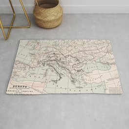 Vintage Fall of The Roman Empire Map (1901) Rug