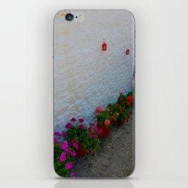Geraniums small Village   Greece iPhone Skin