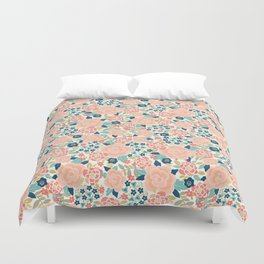 Pretty Floral Peach Duvet Cover