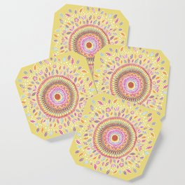 Yellow Sunflower Mandala Coaster