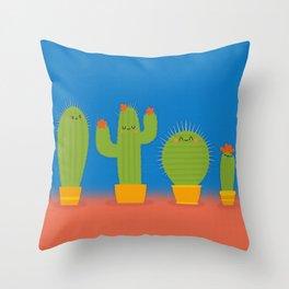 The littlest cactus Throw Pillow