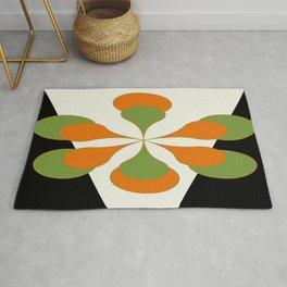 Mid-Century Modern Art 1.4 - Green & Orange Flower Rug