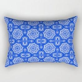 Sapphire Blue Doily Floral Rectangular Pillow
