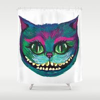 mad hatter Shower Curtains featuring Mad as a Hatter by Samantha Petrin