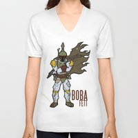 boba V-neck T-shirts featuring Boba Fett by Twisted Dredz