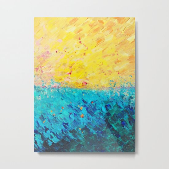 THE DIVIDE - Stunning Bold Colors, Ocean Waves Sun, Modern Beach Chic Theme Abstract Painting Metal Print