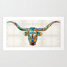 Colorful Longhorn Art By Sharon Cummings Kunstdrucke