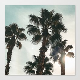 Palm Tree Art Print {1 of 3} | Teal Pastels Topical Beach Plant Nature Vacation Sun Vibes Artwork Canvas Print