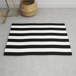 Abstract Black and White Stripe Lines 6 Rug