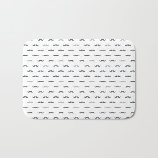 Grey Mustache Bath Mat