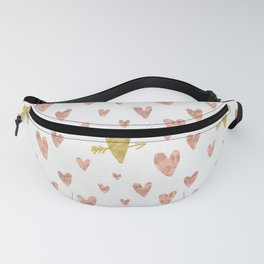 Yellow Rose Gold Hearts Pattern Fanny Pack