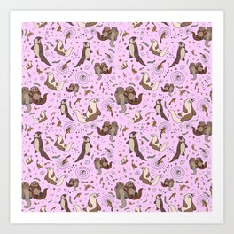 Cute Otters :) Art Print