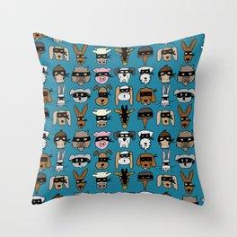Ninja Animal Gang - Blue Throw Pillow