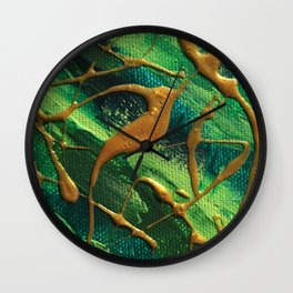 Green & Gold Wall Clock