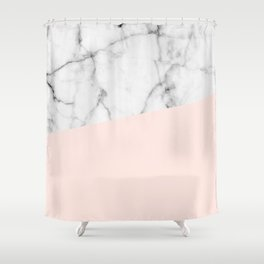 Real White marble Half Salmon Pink Shower Curtain