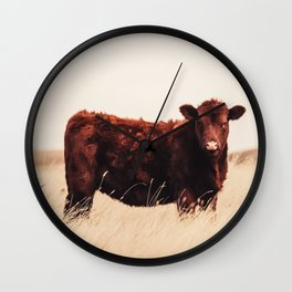 Red Angus Cow Art Wall Clock