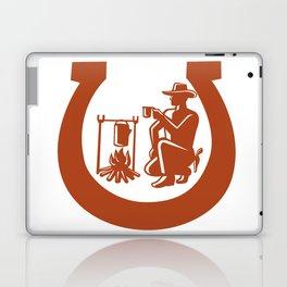 Cowboy Drinking Coffee Horseshoe Mascot Laptop & iPad Skin