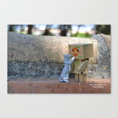 Danbo and cat #11 Canvas Print
