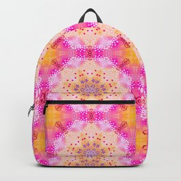 Doily Mandala Kaleidoscope Pattern in Bight Pink and Yellow Backpack