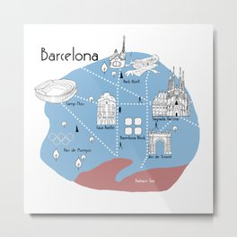 Mapping Barcelona - Original Metal Print