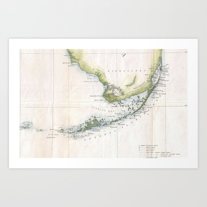 graphic relating to Printable Map of Florida Keys identified as Traditional Map of The Florida Keys (1852) Artwork Print as a result of bravuramedia