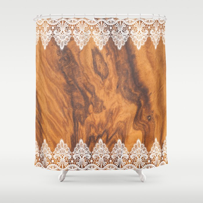 Brown Faux Wood White Vintage Lace Shower Curtain