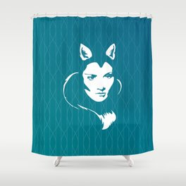 Faces - foxy lady on a teal wavey background Shower Curtain