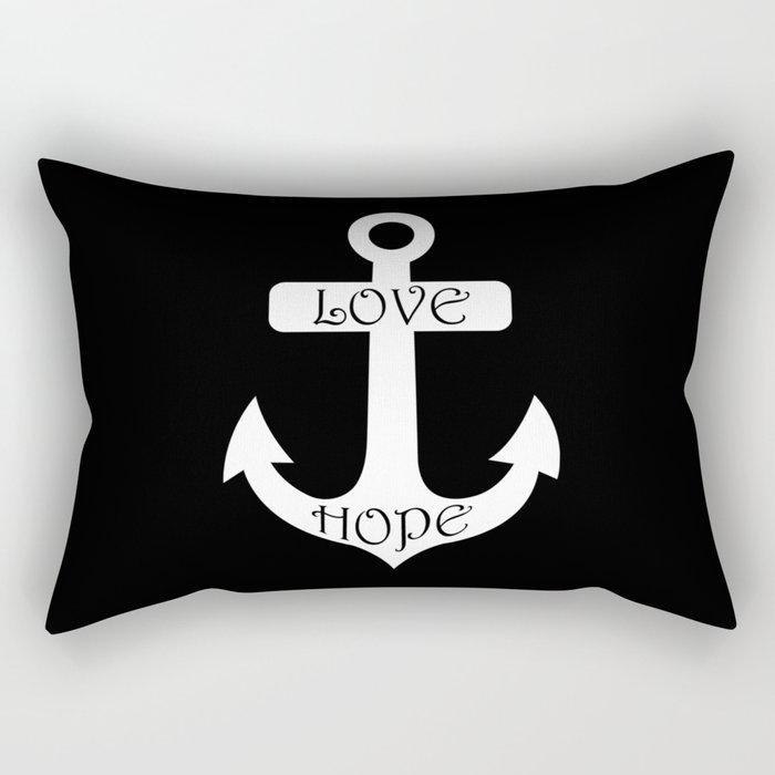 Black & White Love Hope Anchor Rectangular Pillow