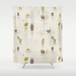 My Potted Cactus Pattern Shower Curtain