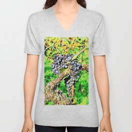 Hortus Conclusus: black grapes on the branch in the vineyard Unisex V-Neck