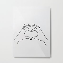 Heart Hands Line Drawing - Share The Love Metal Print