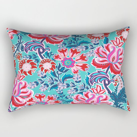 Bohemian Floral Paisley in Turquoise, Red and Pink Rectangular Pillow