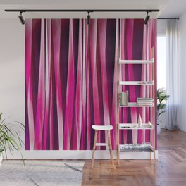 Burgundy Rose Stripy Lines Pattern Wall Mural