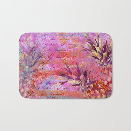 Tropical Pineapple pink abstract illustration art Bath Mat