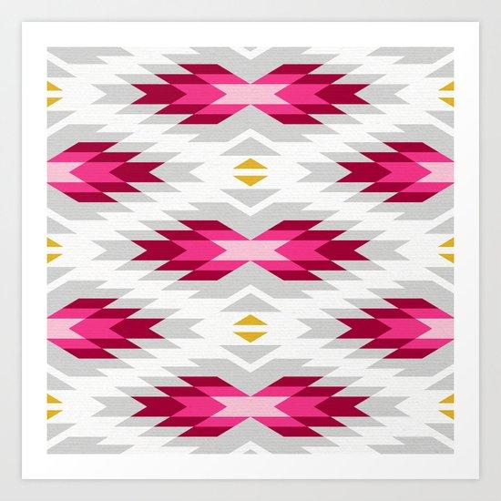 Tribal pattern - grey and pink Art Print
