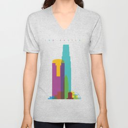 Shapes of Los Angeles accurate to scale Unisex V-Neck