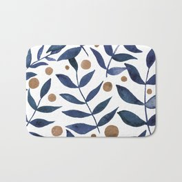 Watercolor berries and branches - indigo and beige Bath Mat