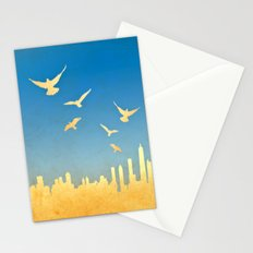 Grunge image of cityscape with birds Stationery Cards