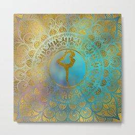 Yoga Asana Symbol in Gold Mandala Metal Print