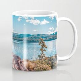 Lake Te Anau with big tree stump on the foreground, Fiordland, South Island, New Zealand Coffee Mug